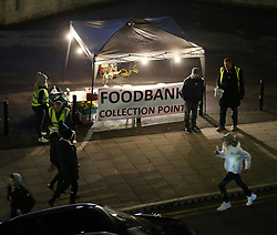 27 December 2017 Newcastle: Premier League Football - Newcastle United v Manchester City : a foodbank collection point outside St James Park stadium.<br /> (photo by Mark Leech)