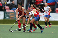 Olesia Petrova of Russia ® challenges Lisa Daley of Wales (l).Wales v Russia, semi final,  EuroHockey 11 Women's championshp 2017 in Cardiff, South Wales , Friday 11th August 2017<br /> Wales v Russia, semi final,  EuroHockey 11 Women's championshp 2017 in Cardiff, South Wales , Friday 11th August 2017<br /> pic by Andrew Orchard