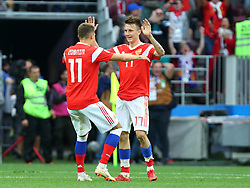 June 14, 2018 - Moscow, Russia - 14 June 2018, Russia, Moscow, FIFA World Cup, First Round, Group A, First Matchday, Russia vs Saudi Arabia at the Luzhniki Stadium. Players Roman Zobnin (11), Alexander Golovin  (Credit Image: © Russian Look via ZUMA Wire)