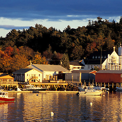 Boothbay Harbor, ME.... Boothbay Harbor, Maine in fall.  Our Lady Queen of Peace Catholic Church.