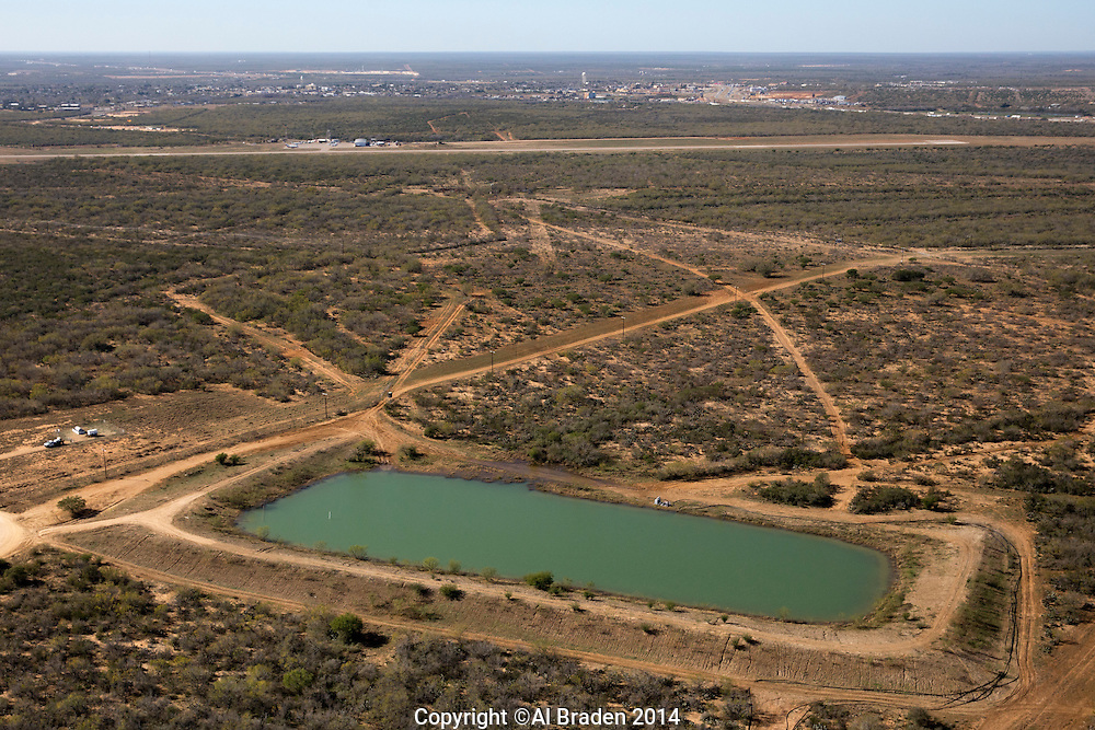 Water pond for fracking operations, Cotulla, TX