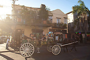 People, tourists riding on a horse and carriage through the streets in the French Quarter, arty shot, golden light, flare, New Orleans, Louisiana, USA.