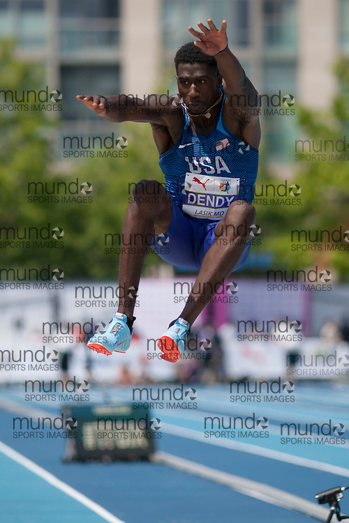 Toronto, ON -- 12 August 2018: Marquis Dendy (USA), gold in long jump at the 2018 North America, Central America, and Caribbean Athletics Association (NACAC) Track and Field Championships held at Varsity Stadium, Toronto, Canada. (Photo by Sean Burges / Mundo Sport Images).