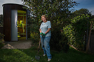 Finchley Horticultural Society, founded in 1940 as The West Finchley (Wartime) Allotments Association, part of the 'Dig for Victory' campaign. Photo shows Allotments Secretary June Brookes outside the Kazubaloo KL2 waterless toilet on the Gordon Road Allotments in Finchley, North London, Britain.