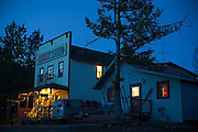 The historic (and still operating) Ma Johnson's Hotel at twilight in McCarthy, Alaska.