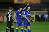 AFC Wimbledon defender George Francomb (7) shouts instructions during the The Emirates FA Cup 1st Round Replay match between AFC Wimbledon and Bury at the Cherry Red Records Stadium, Kingston, England on 15 November 2016. Photo by Stuart Butcher.