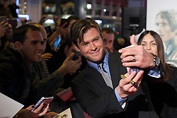 """03.12.2015, Callao Cinema, Madrid, ESP, Premiere, In the Heart of the Sea, im Bild Australian actor Chris Hemsworth takes a selfie photography with fans // during the Madrid Premiere of the movie """" In the Heart of the Sea"""" at the Callao Cinema in Madrid, Spain on 2015/12/03. EXPA Pictures © 2015, PhotoCredit: EXPA/ Alterphotos/ Victor Blanco<br /> <br /> *****ATTENTION - OUT of ESP, SUI*****"""