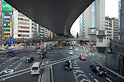 Tokyo, Shibuya, elevated highway at a busy junction traffic infrastructure