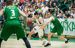 Marko Josilo of Krka vs DOmen Lorbek of Petrol Olimpija during basketball match between KK Krka Novo mesto and  KK Petrol Olimpija in 4th Final game of Liga Nova KBM za prvaka 2017/18, on May 27, 2018 in Sports hall Leona Stuklja, Novo mesto, Slovenia. Photo by Vid Ponikvar / Sportida