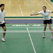 ORANGE, CA, January 3, 2008: Top badminton players, including Eva Lee and Bob Malaythong train at the Orange County Badminton Club in Orange, California.