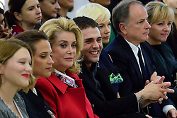 Lea Seydoux, Alicia Vikander, Catherine Deneuve, Xavier Dolan and Bernard Arnault attending the Louis Vuitton show as a part of Paris Fashion Week Ready to Wear Spring/Summer 2017 in Paris, France on October 05, 2016. Photo by Aurore Marechal/ABACAPRESS.COM