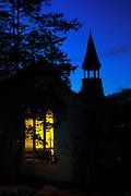 The historic Oella Church in Oella, Maryland shot at dusk.