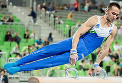 Saso Bertoncelj of Slovenia competes in Pommel Horse during Qualifications of Artistic Gymnastics World Cup Ljubljana, on April 8, 2016 in Arena Stozice, Ljubljana, Slovenia. Photo by Vid Ponikvar / Sportida