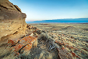 Bighorn basin of Wyoming at sunset,r ocks and badlands