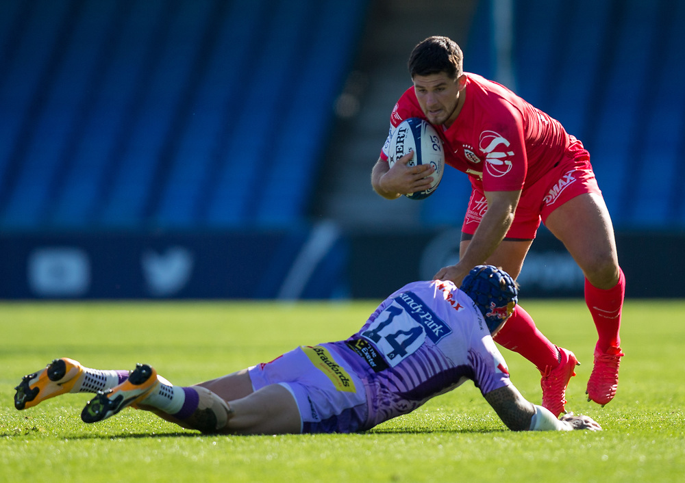 Toulouse's Julien Marchand is tackled by Exeter Chiefs' Jack Nowell<br /> <br /> Photographer Bob Bradford/CameraSport<br /> <br /> European Rugby Heineken Champions Cup Semi-Final - Exeter Chiefs v Toulouse - Saturday 26th September 2020 - Sandy Park - Exeter<br /> <br /> World Copyright © 2019 CameraSport. All rights reserved. 43 Linden Ave. Countesthorpe. Leicester. England. LE8 5PG - Tel: +44 (0) 116 277 4147 - admin@camerasport.com - www.camerasport.com
