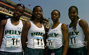 The Long Beach Poly High (Calif.) girls 4 x 100-meter relay team of (from left) Shana Solomon, Jasmine Lee, Chanda Picott and Shalonda Solomon set a national record of 44.50 seconds in the 110th Penn Relays at  Franklin Field on Friday, April 23, 2004 in Philadelphia.