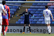 Kamil Miazek of Leeds United U23 shouts to his team mates during the U23 Professional Development League match between U23 Crystal Palace and Leeds United at Selhurst Park, London, England on 15 April 2019.