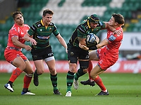Rugby Union - 2019 / 2020 Gallagher Premiership - Northampton Saints v Sale Sharks - Franklin Gardens<br /> <br /> Northampton Saints' Shaun Adendorff evades the tackle of Sale Sharks' Sam James.<br /> <br /> COLORSPORT/ASHLEY WESTERN