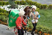 Gerkli is paraded as the winner of the prestigious 'Most Beautiful Horse in Turkmenistan 2010' in Ashgabat, Turkmenistan
