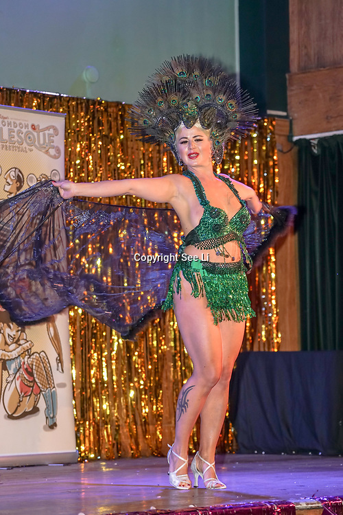 Dixie Feathers, Finland  preforms at the London Burlesque Festival the VIP Opening Gala at Conway Hall on 18th May 2017, UK. by See Li