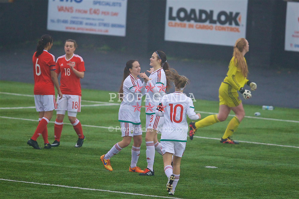 MERTHYR, WALES - Tuesday, February 14, 2017: Hungary's Dóra Dorner celebrates scoring the fourth goal against Wales during a Women's Under-17's International Friendly match at Penydarren Park. (Pic by David Rawcliffe/Propaganda)