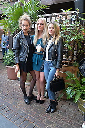 Left to right, GEMMA JANES, DIANA VICKERS and KARA ROSE MARSHALL at the Warner Music Group Summer Party in association with British GQ held at Shoreditch House, Ebor Street, London E2 on 8th July 2015.