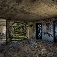 Phlegm and Faunagraphic in a disused hotel  in Sheffield, UK