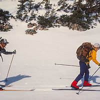 Hardy snow surveyors ski deep into the Sierra Nevada wilderness to study the snowpack for the Department of Water Resources.