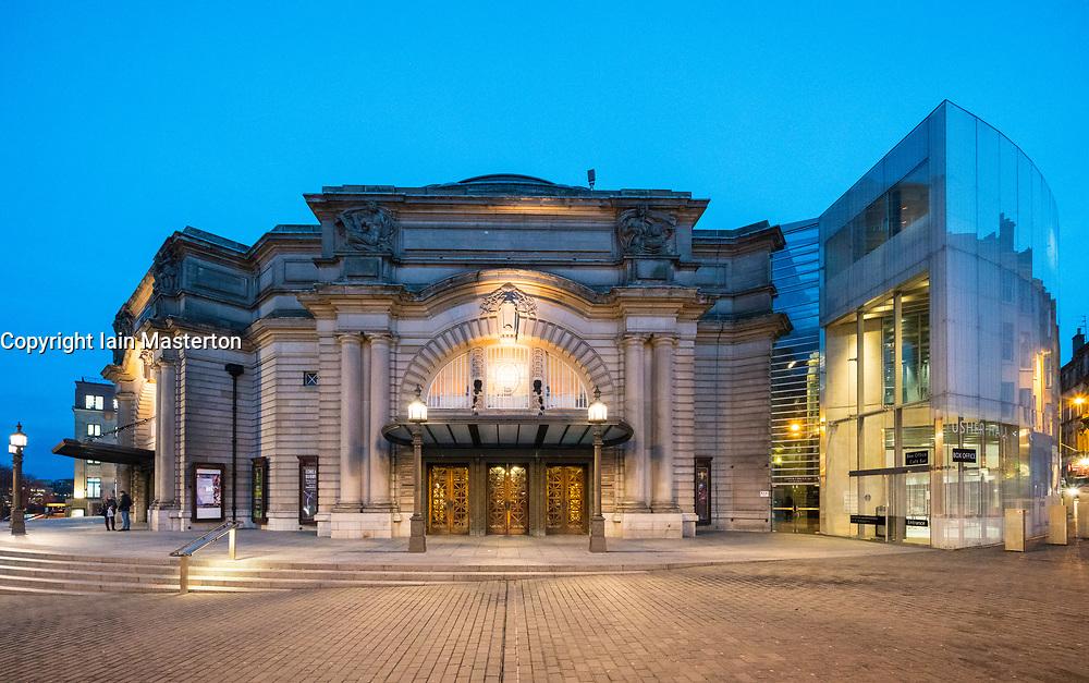 Night view of exterior of Usher Hall theatre in Edinburgh, Scotland, United Kingdom