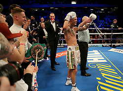 Charlie Edwards celebrates beating Angel Moreno in their World Boxing Council World Flyweight Title bout at the Copper Box Arena, London.