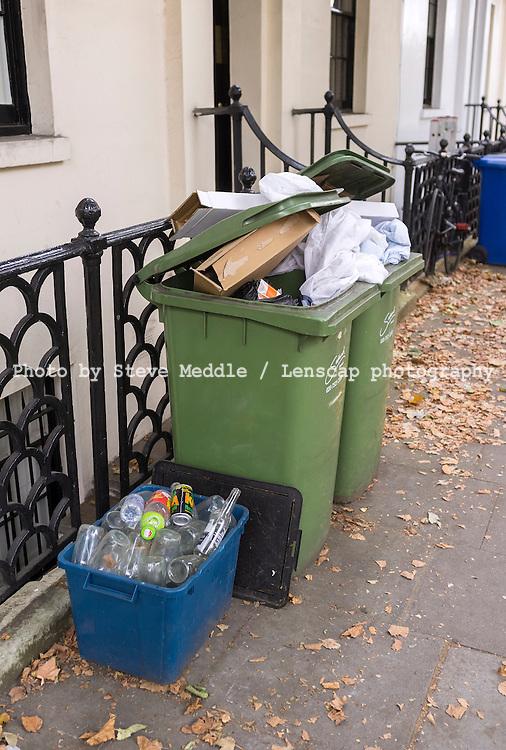Recycling Wheelie Bins, London, Britain - Aug 2012.