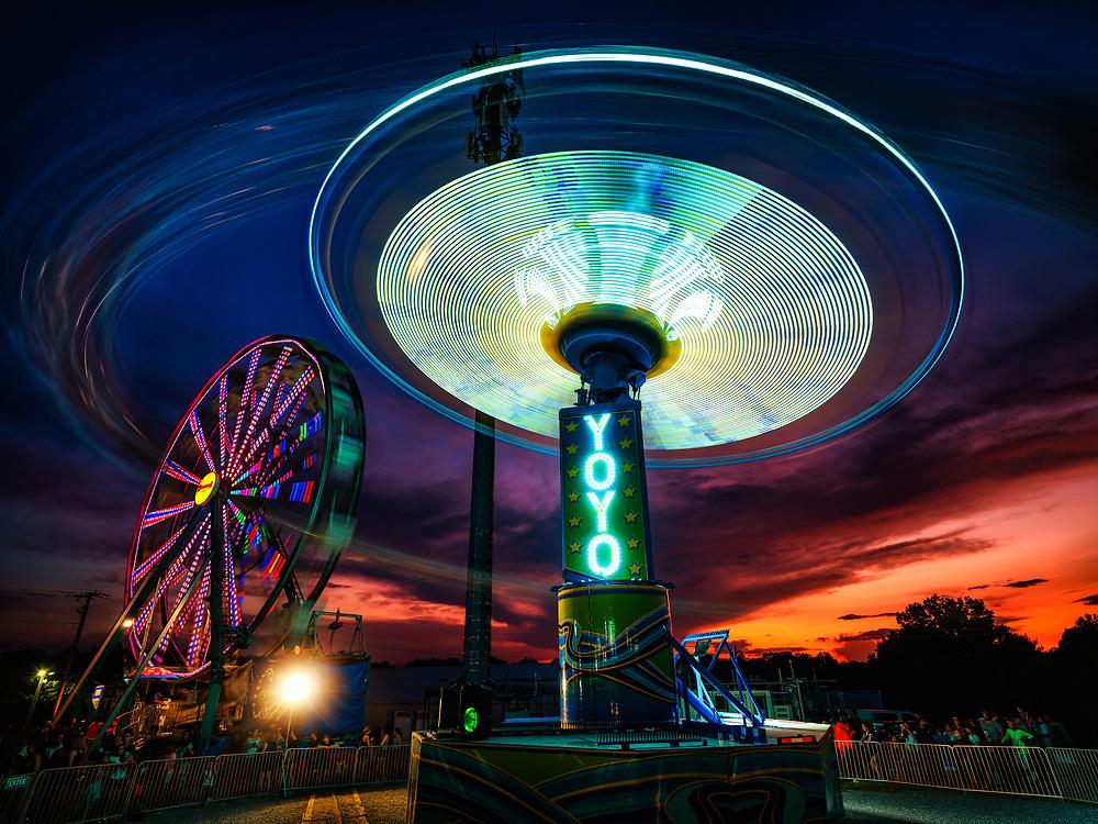 YoYo ride at dusk at the Howard County Fair in Ellicott City, MD.