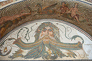 3rd century AD Roman mosaic water basin mosaic depicting the head of Neptune surrounded by sea monsters and Nereids (nymphs), and Xenia which were gifts of hospitality. From the House of Neptune, Thuburbo Maius, Tunisia.  The Bardo Museum, Tunis, Tunisia. .<br /> <br /> If you prefer to buy from our ALAMY PHOTO LIBRARY  Collection visit : https://www.alamy.com/portfolio/paul-williams-funkystock/roman-mosaic.html - Type -   Bardo    - into the LOWER SEARCH WITHIN GALLERY box. Refine search by adding background colour, place, museum etc<br /> <br /> Visit our ROMAN MOSAIC PHOTO COLLECTIONS for more photos to download  as wall art prints https://funkystock.photoshelter.com/gallery-collection/Roman-Mosaics-Art-Pictures-Images/C0000LcfNel7FpLI