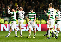 Dejected Celtic players Patrick Roberts, Scott Brown, Kieran Tierney, Michael Lustig, Craig Gordon and Anthony Ralston applaud the fans after the match