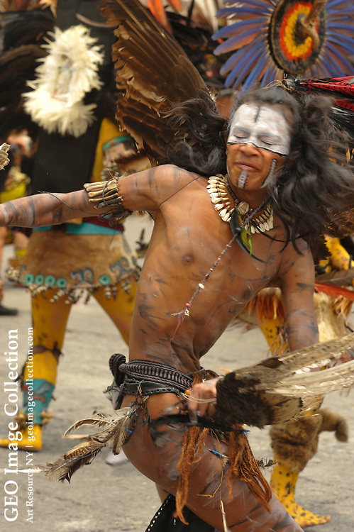 Greatest Aztecs, MM7677,  Mexico City, Mexico, Aztec dances in the Zocalo on the day the Aztecs founded their new city in the Valley of Mexico, Centro Historico, Cathedral, Eagle Warrior, Dancers, costumes, Jaguar