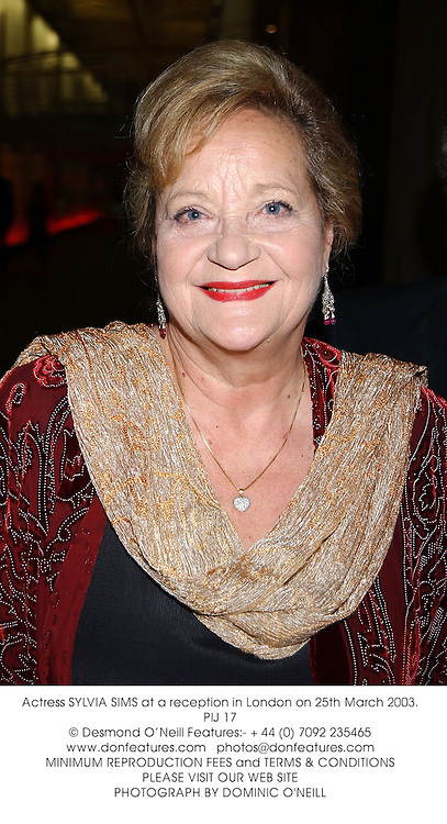 Actress SYLVIA SIMS at a reception in London on 25th March 2003.PIJ 17