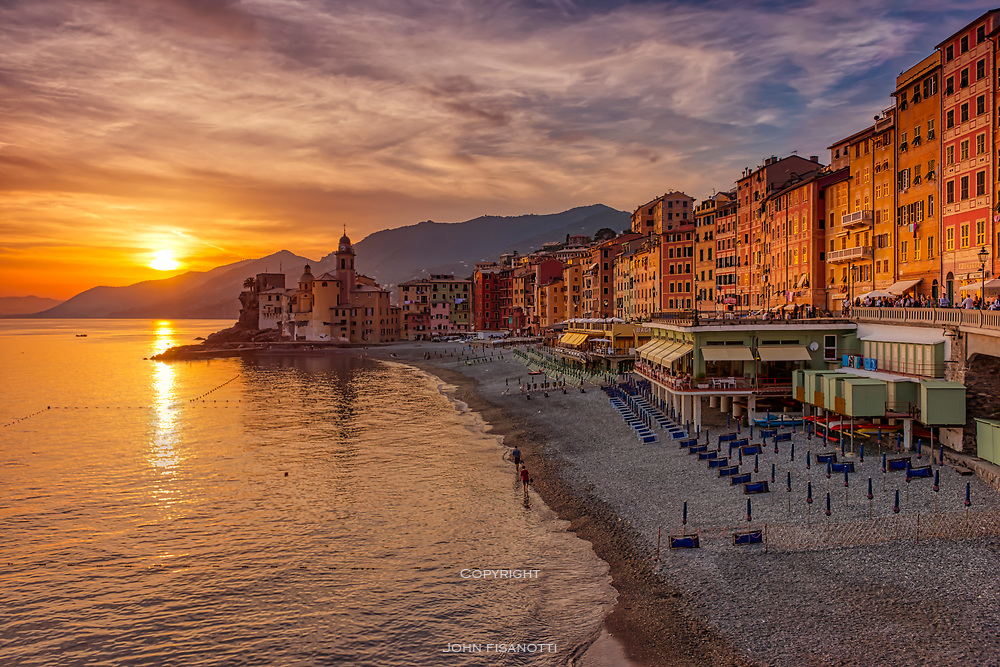 The sun sets over Camogli, Italy