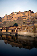 The Amber Palace at dawn, Jaipur, India<br /> The Amer Fort, was built over the remnants of an earlier structure during the reign of Raja Man Singh, Commander in Chief of Akbar's army in 1592.The structure was expanded by his descendants, over the next 150 years