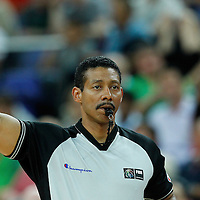 08 August 2012: Umpire William Kennedy is seen during 66-59 Team Spain victory over Team France, during the men's basketball quarter-finals, at the 02 Arena, in London, Great Britain.