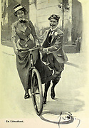 Ein Liebesdienst [A service of love] man teaches a woman to ride a bike From the Book Das Narrenrad : Album fröhlicher Radfahrbilder [The fool's wheel: album of happy cycling pictures] by Feininger, Lyonel, 1871-1956, illustrator; Heilemann, Ernst, 1870- illustrator; Hansen, Knut, illustrator; Fürst, Edmund, 1874-1955, illustrator; Edel, Edmund, illustrator; Schnebel, Carl, illustrator; Verlag Otto Elsner, printer. Published in Germany in 1898
