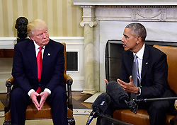 November 10, 2016 - Washington, District of Columbia, United States of America - United States President Barack Obama meets US President-elect Donald Trump in the Oval Office of the White House in Washington, DC on November 10, 2016..Credit: Ron Sachs / CNP. (Credit Image: © Ron Sachs/CNP via ZUMA Wire)