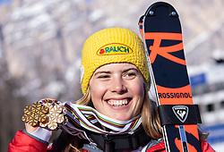 20.02.2021, Cortina, ITA, FIS Weltmeisterschaften Ski Alpin, Slalom, Damen, Siegerehrung, im Bild Gewinnerin der Goldmedaille und Weltmeisterin Damen Slalom 2021 Katharina Liensberger (AUT) mit allen ihren Medaillen die Sie bei der WM 2021 in Cortina gewonnen hat // Gold medalist and world champion Slalom women 2021 Katharina Liensberger of Austria with all the medals she won at the 2021 World Championships in Cortina during the winner ceremony for the women slalom of FIS Alpine Ski World Championships 2021 in Cortina, Italy on 2021/02/20. EXPA Pictures © 2021, PhotoCredit: EXPA/ Johann Groder