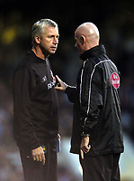 Photo: Olly Greenwood.<br />West Ham United v Blackburn Rovers. The Barclays Premiership. 29/10/2006. West Ham manager Alan Pardew is stopped by the 4th official