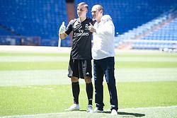 July 23, 2018 - Madrid, Spain - Andriy Lunin with his father during his presentation as new Real Madrid goalkeeper at Santiago Bernabéu Stadium in Madrid, Spain. July 23, 2018. (COOLMEDIA/BorjaB.Hojas) (Credit Image: © Coolmedia/NurPhoto via ZUMA Press)