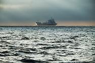 Ship in the North Sea shipping lanes at dawn