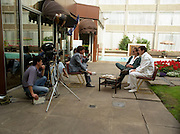 "Sade and Tony Hadley Interviews.  P92..1984.21.08.1984..08.21.1984..21st August 1984..As part of his interview sessions for ""Video File"" for R.T.E., Marty Whelan interviewed international music stars. The interviews were held in the R.T.E.,studios and at various hotels throughout the city...Gary Kemp and Tony Hadley are pictured in the gardens of Jury's Hotel in Ballsbridge during  their interview with Marty Whelan."