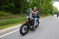 Brent Mayfield riding his 1925 Harley-Davidson JD in the Motorcycle Cannonball coast to coast vintage run. Stage-1 (145-miles) from Portland, Maine to Keene, NH. Saturday September 8, 2018. Photography ©2018 Michael Lichter.