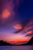 Dramatic clouds at twilight, Juneau, Inside Passage, Southeast Alaska USA.