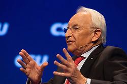 """20.11.2015, Messe Muenchen, Muenchen, GER, CSU Parteitag 2015, Festakt """"70 Jahre CSU"""", im Bild CSU-Ehrenvorsitzender Dr. Edmund Stoiber, Podiumsgespraech, // during ceremony """"70 years CSU"""" of CSU party convention in 2015 at the Messe Muenchen in Muenchen, Germany on 2015/11/20. EXPA Pictures © 2015, PhotoCredit: EXPA/ Eibner-Pressefoto/ Krieger<br /> <br /> *****ATTENTION - OUT of GER*****"""