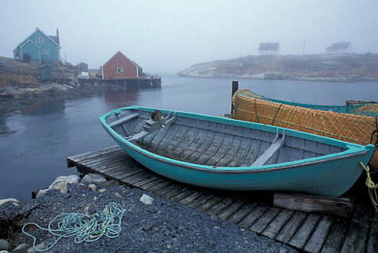 Lobster fishing boats docked at village at Peggy's Cove. Nova Scotia. Canada.